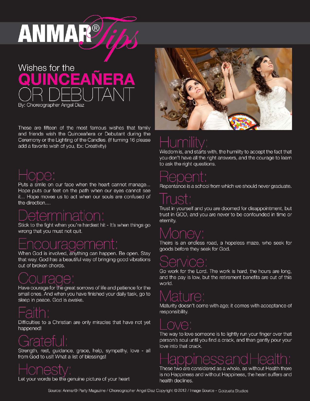 Wishes for the Quinceañera or Sweet 16 Debutant